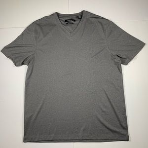 Axist Mens V Neck Shirt Large Grey Short Sleeve